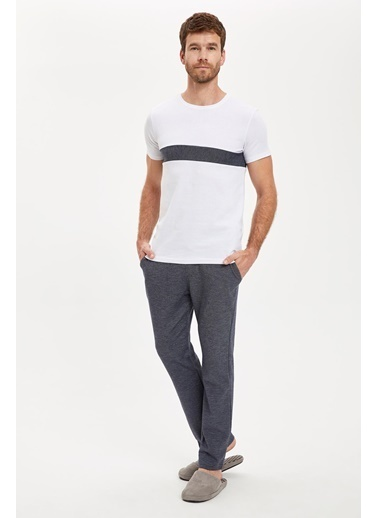 DeFacto Şerit Detaylı Alt ve Üst Pijama Takımı Lacivert